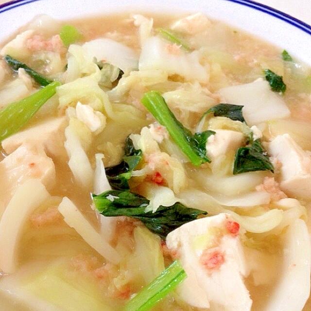 カニ缶でお豆腐と白菜の簡単うま煮