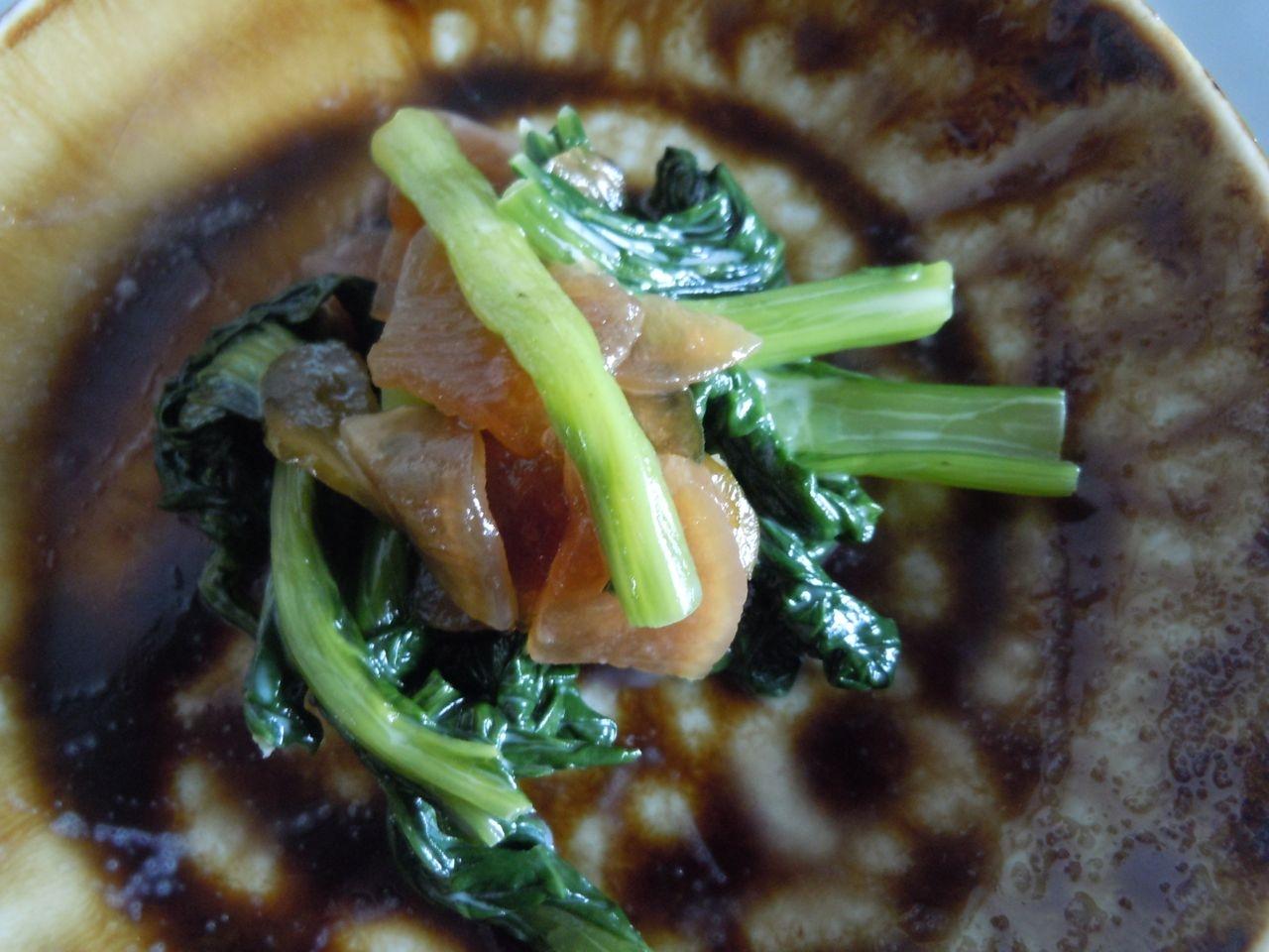 小松菜と福神漬けのマヨ炒め