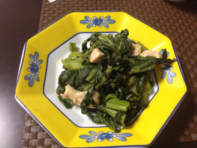 8. からし菜と鶏肉の炒め物