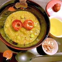 塩えんどう豆の甘味あっさりぷちぷち雑穀ぜんざい