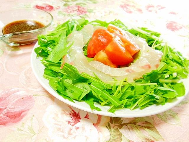 バルサミコ・ドレde鯛と水菜とトマトのサラダ