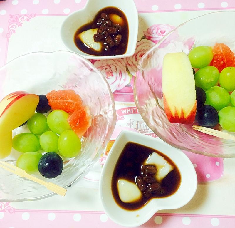果物と白玉だんご&餡子&アイスコーヒー
