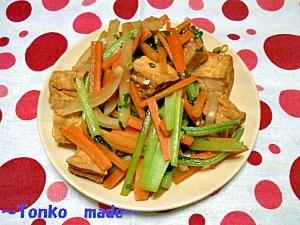 絹揚げと小松菜の香味醤油炒め