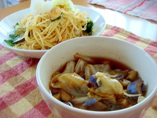 キャベツとなすの和風バルサミコ酢スープ