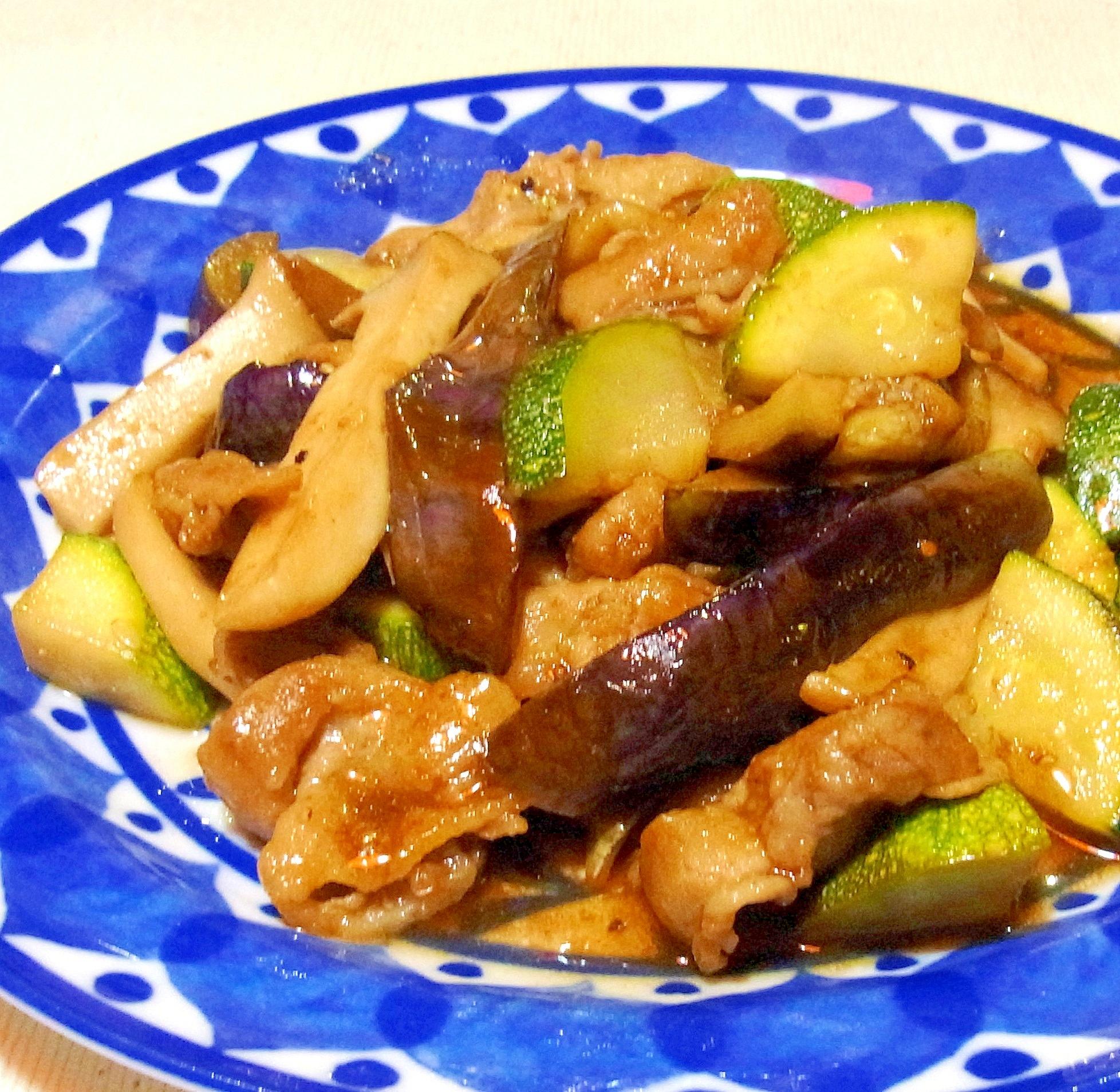 夏野菜と豚バラのバルサミコ炒め