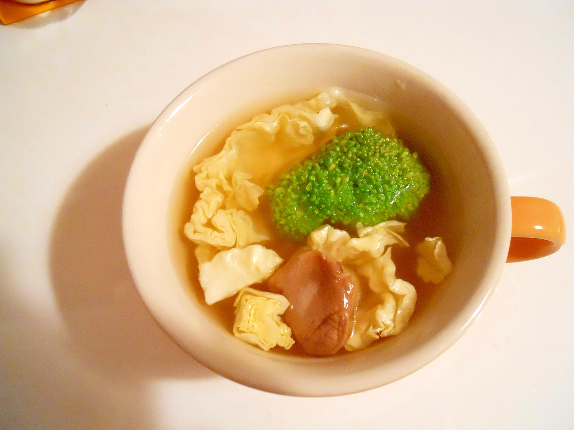 ブロッコリー&きゃべつ&エリンギでコンソメスープ