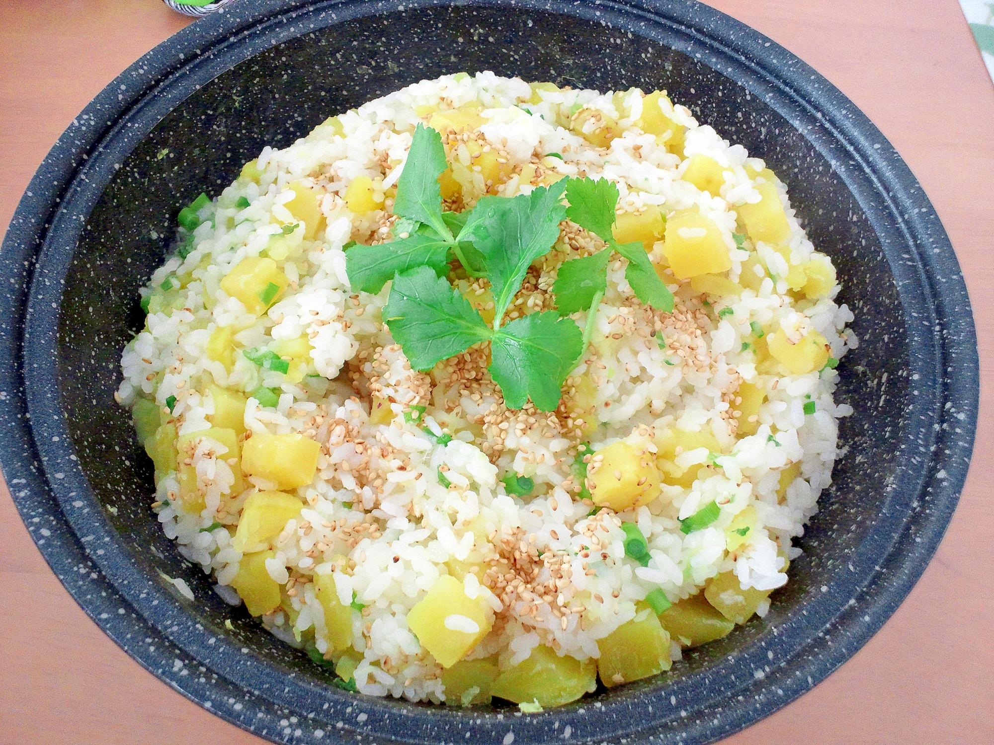 風邪予防に☆さつま芋と生姜とネギの雑炊♪
