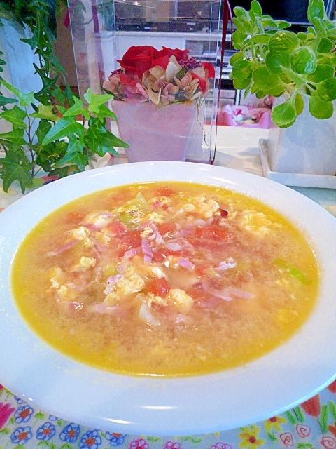 レタスとトマトのかき玉スープ♪
