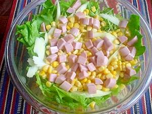 コーンと焼き魚肉ソーセージで野菜サラダ☆