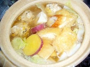 鶏だんごとサツマイモのほくほく鍋