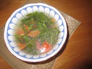 にっこりトマト菜の花スープ