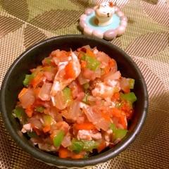 鶏ささみと雑穀の梅肉和えサラダ