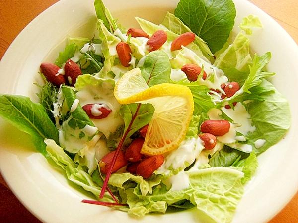 落花生と白菜の葉っぱサラダ♪(ヨーグルトソース)
