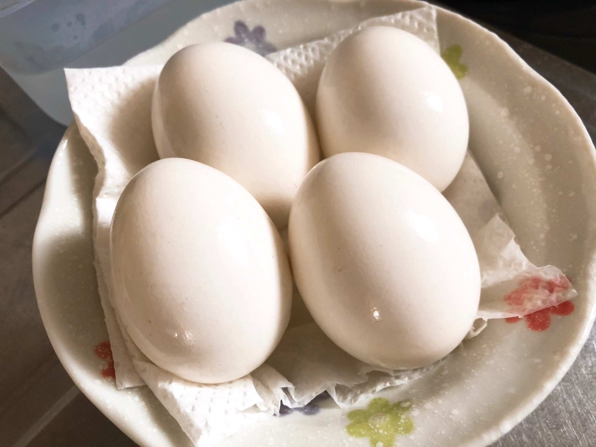 白い皿にのせた殻付き塩味ゆで卵