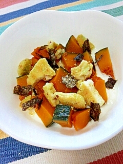 【キレイ応援朝食】南瓜と枝豆煎餅の海苔ヨーグルト♪