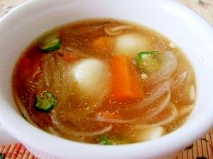 オクラ入り白玉団子の具沢山スープ