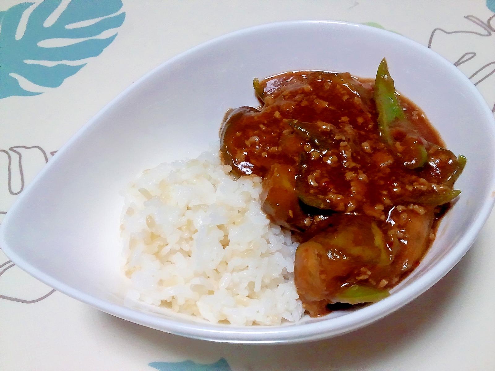 麻婆茄子ピーマン丼++