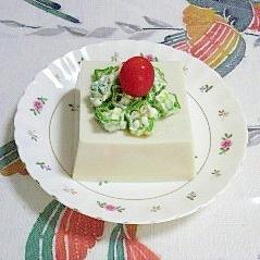 ゴマ豆腐に、オクラマヨ~♪