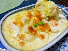 ■15分で..生クリームで作る豆腐えびグラタン