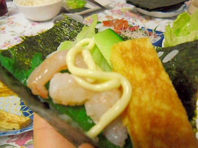 ゆでエビの手巻き寿司