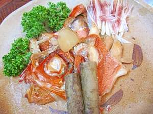 圧力鍋の2段料理☆1段目は「金目鯛の兜煮」