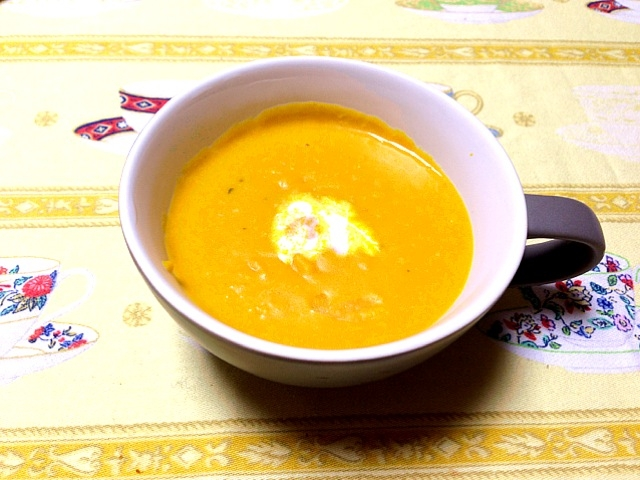 *あまくて濃いー♪かぼちゃの豆乳スープ