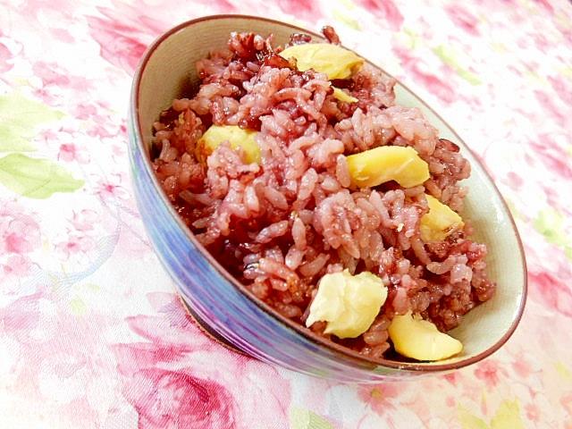 お祝いにも古代香紫米の栗ご飯