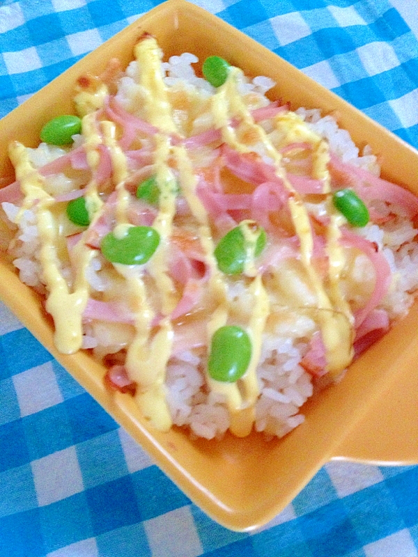 トースターで!枝豆&ハムのマヨ焼きご飯★