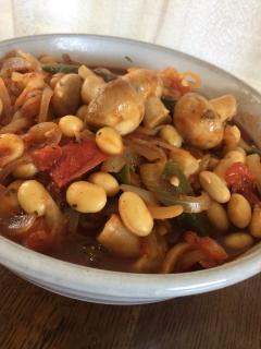 大豆マッシュルームのトマト煮