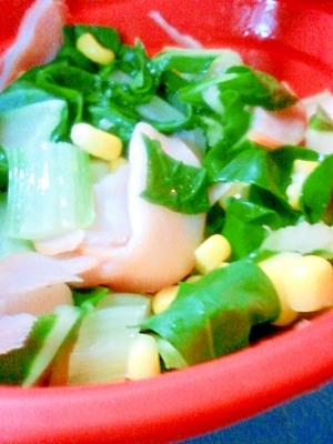 お弁当にスチーマーで、小松菜の簡単!中華炒め