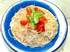 和風で!大根とツナとミニトマトの冷製パスタ!