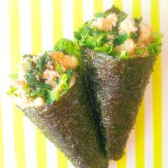 手の平サイズの海苔ブーケサラダ菜の花のタラモサラダ