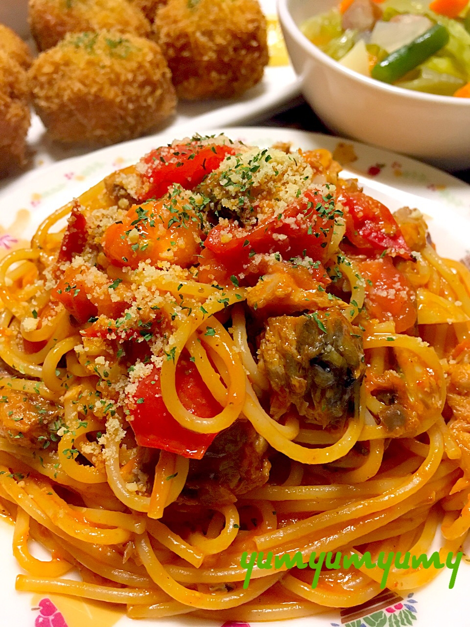 さば缶のトマトパスタです☆食べたい時にサッ!とね♪ レシピ・作り方