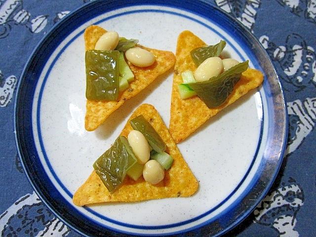 茎わかめと水煮大豆のおつまみドリトス