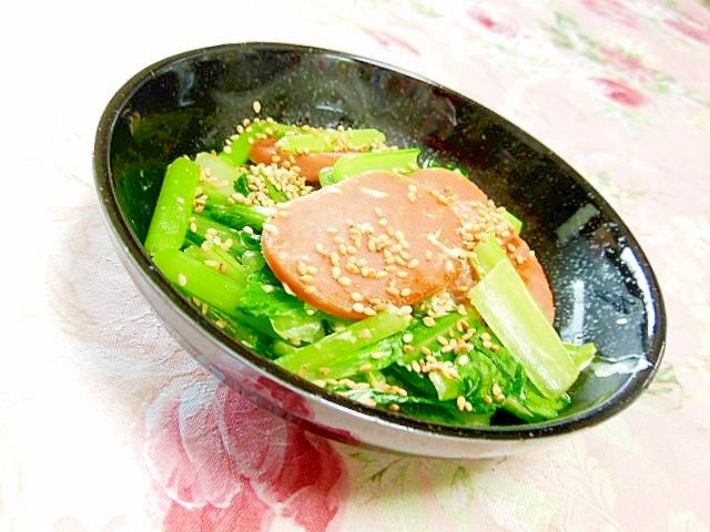 お魚ハンバーグと小松菜のガリマヨ炒め