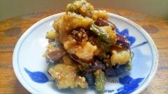 夏のご飯のお供、茄子といんげん豆の胡麻味噌和え