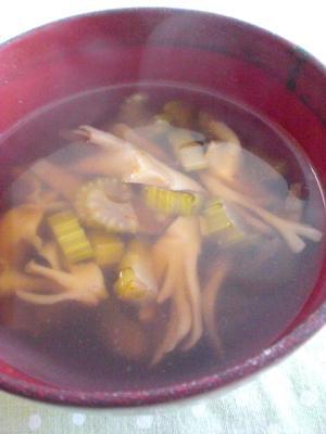 セロリと舞茸のピリ辛中華スープ
