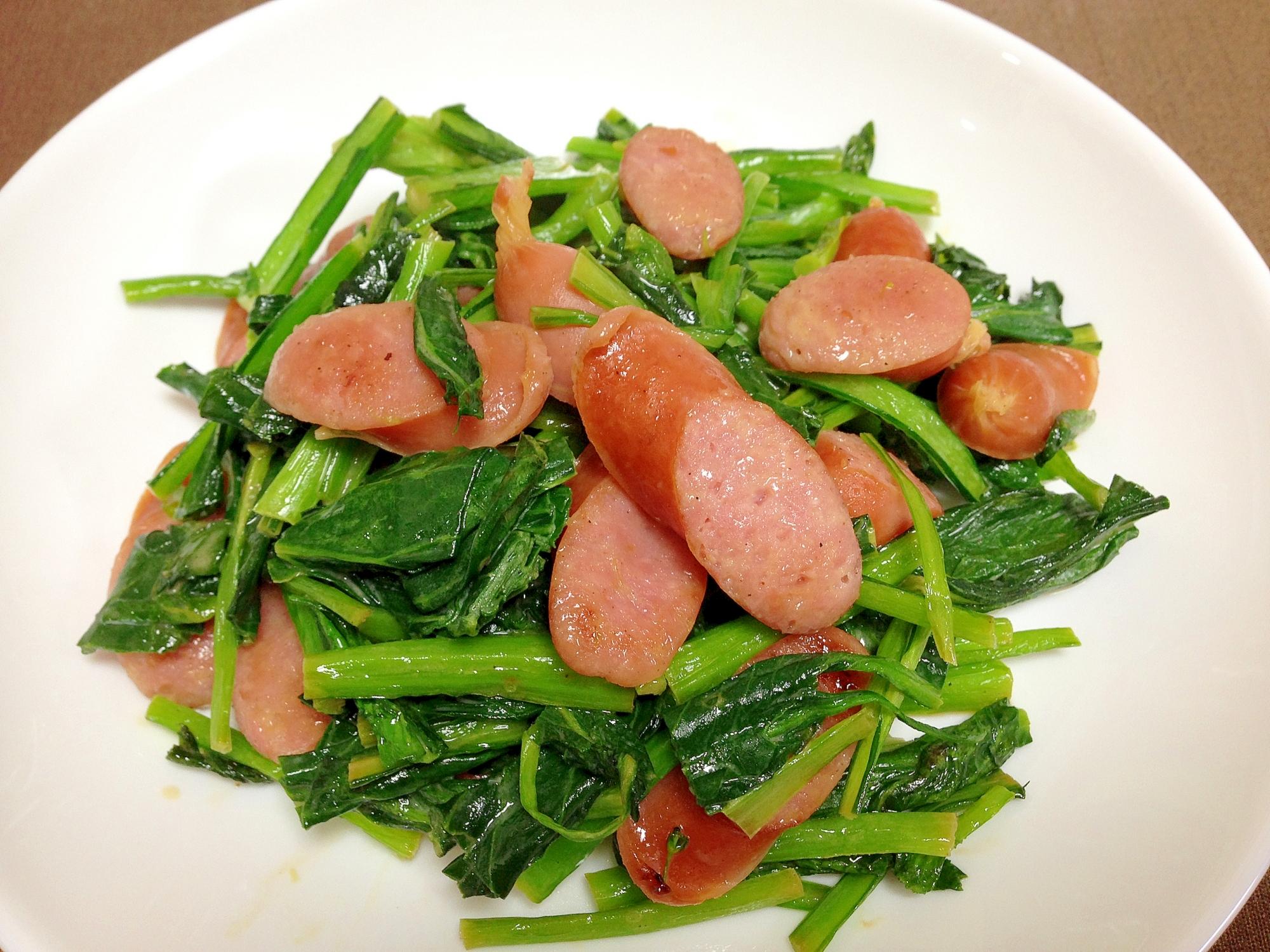 3. ウインナーと小松菜のマヨ炒め
