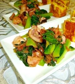 鰹節たっぷりの小松菜とタコの和風炒め♪