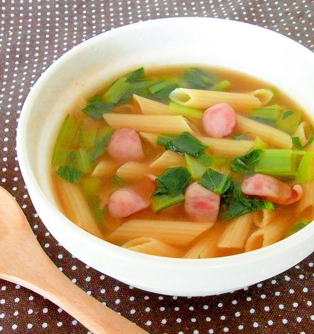 2.小松菜とウインナーのマカロニスープ