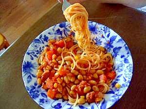 作り置きで簡単!大豆のトマト煮込みのスパゲティー