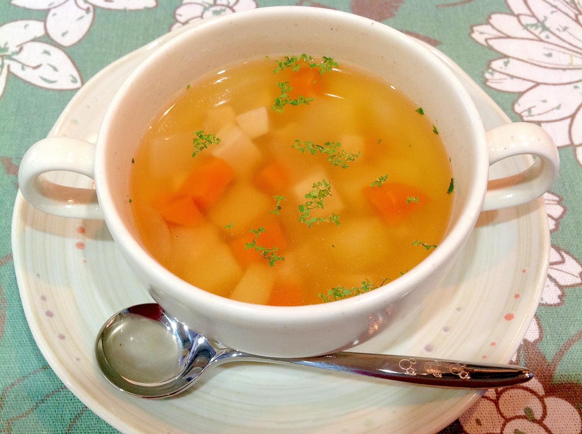 3. じゃがいも・にんじん・サラダチキンのスープ