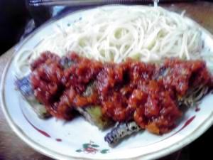 簡単秋刀魚のトマトソース