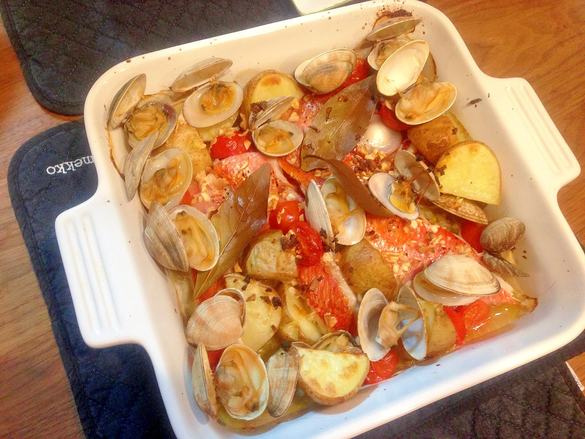 オーブンで金目鯛のアクアパッツァ風