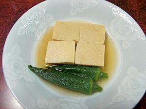 高野豆腐と冷凍オクラの煮物