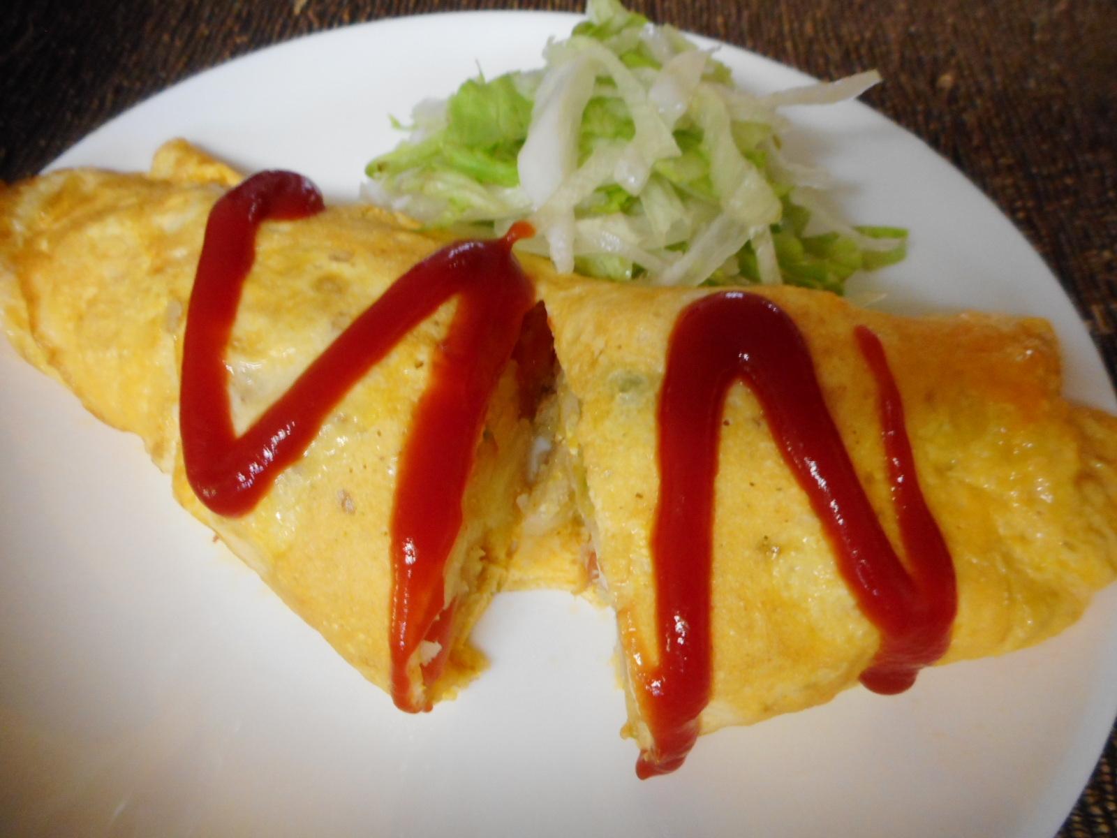 2. チーズ in マッシュポテトオムレツ