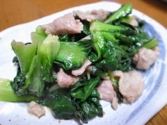 タアサイ(ターサイ)と豚肉のオイスター炒め