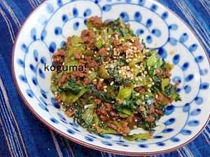 常備菜にも!小松菜とミンチ肉の佃煮