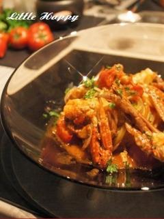 ワタリガニのあっさりトマトソースパスタ