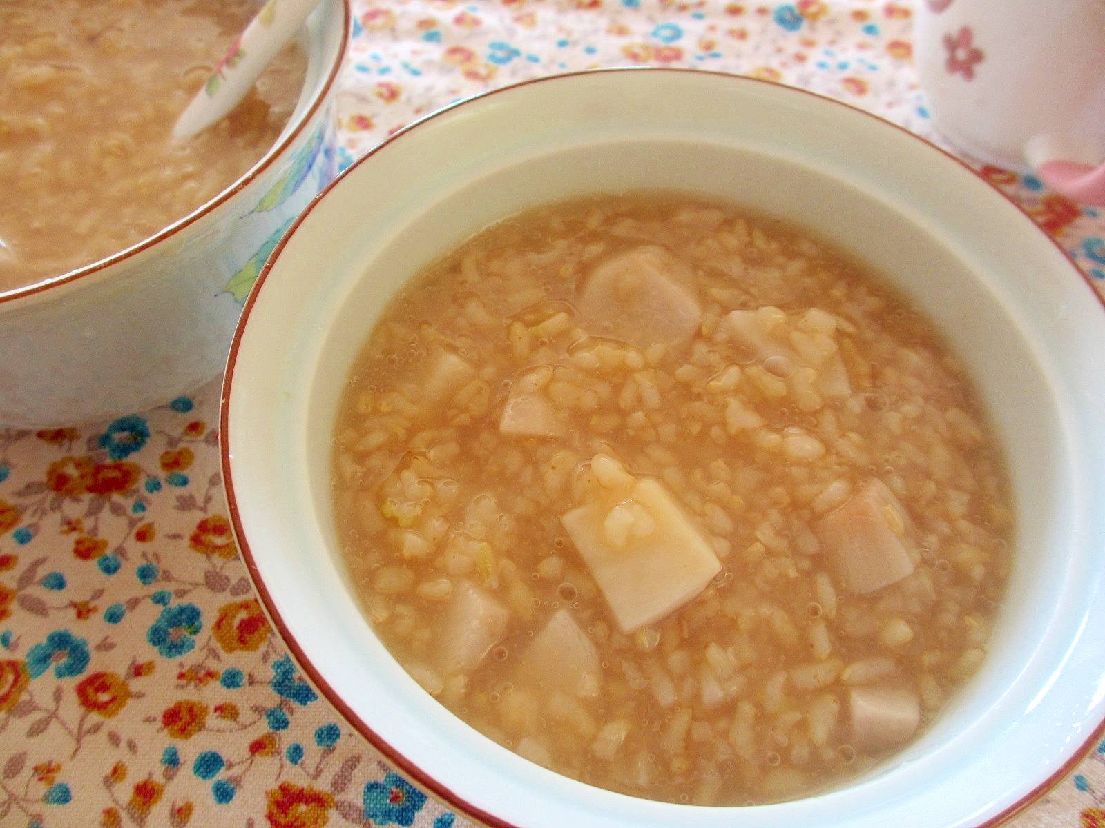 玄米と里芋の茶粥